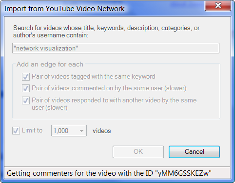 YouTube user and video networks in NodeXL v100+ › Social Media