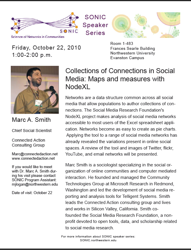 October 22nd, 2010: Marc Smith Talk At Northwestern University