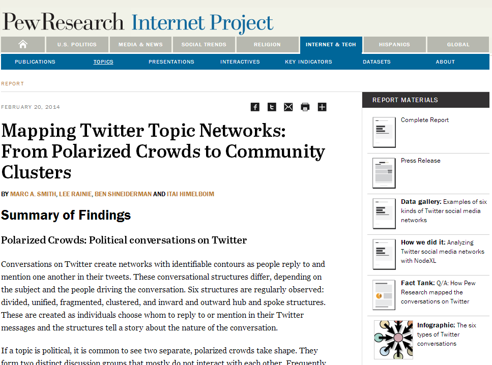 Pew Internet Research And Social Media Research Foundation Release Report