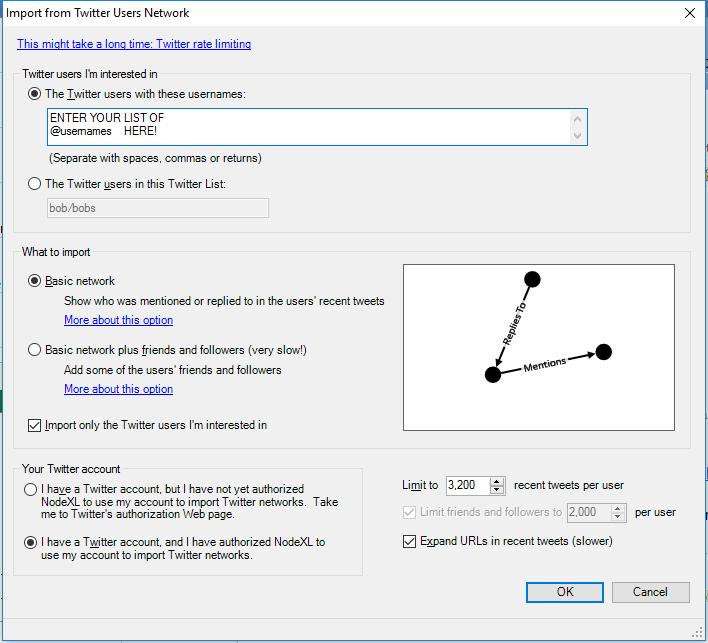 NodeXL Twitter User Network Importer