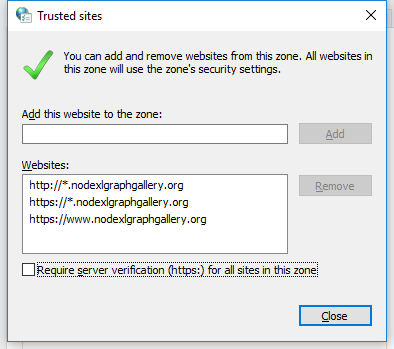 Nodexl Trusted sites settings 2