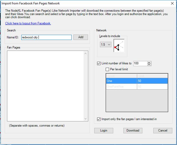 NodeXL Pro Facebook Fan Page to Fan Page by