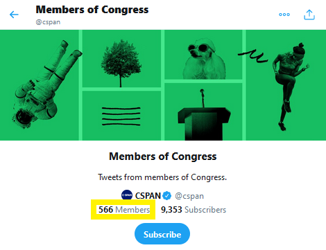 Twitter user list start page CSPAN Congress
