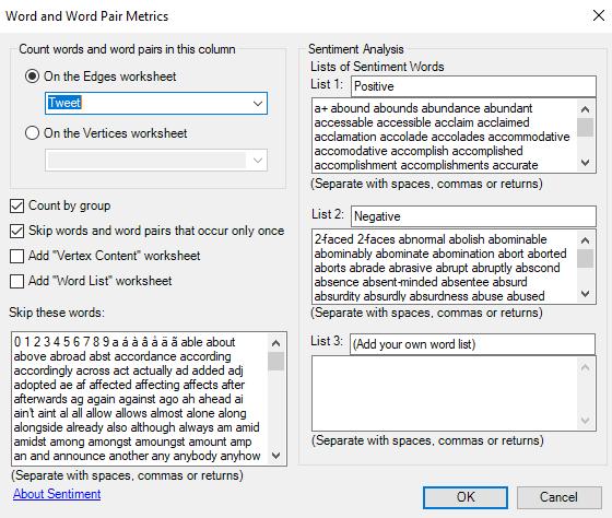Word and Word Pair Metrics window