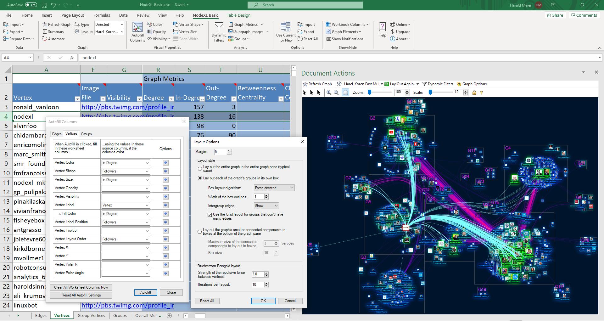 Screenshot of NodeXL Basic